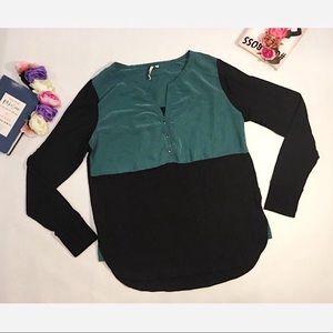 Calvin Klein Top Green Black Large Long Sleeve